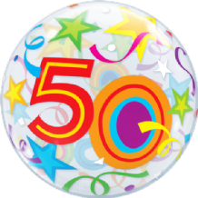 "50 Birthday Stars Bubble Balloon (22"") 1pc"